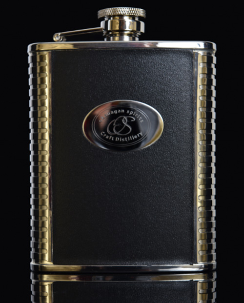 6 oz Black Leather & Stainless Steel Flask